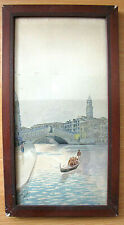 Antique Watercolor Painting Grand Canal, Rialto Bridge. Venice Signed Framed