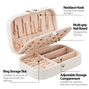 Portable Travel Jewelry Box Organizer Velvet Earring Ring Display Ornaments Case