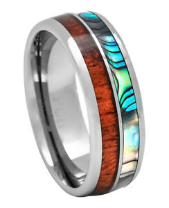 Men's Tungsten Wedding Band With Koa Wood, Abalone Inlay, 8mm Comfort Fit Ring