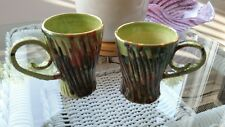 HAND MADE CERAMIC GREEN GOLD  HIS & HERS UNIQUE COFFEE MUGS ARTIST SIGNED