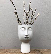 Ceramic Matt White Head Face Vase / Planter / Perfect for Dried Flowers