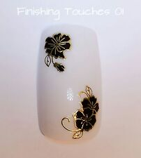 Nail Art Sticker- 3D Flower Decal #233 TJ035 Transfer Wrap Black Metallic Gold