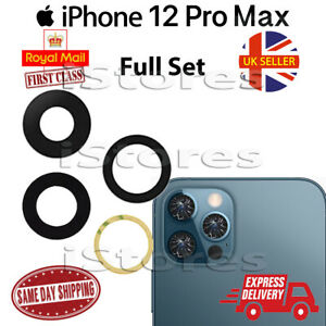 iPhone 12 Pro Max Replacement Rear Back GLASS Camera Lens Full Set with Adhesive