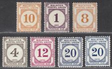 Malayan Postal Union 1936-51 Postage Due Selection to 20c Mint