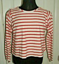 BN MM6 Maison Margiela Red & White Stripe Crop Top Jersey UK Size S RRP £320