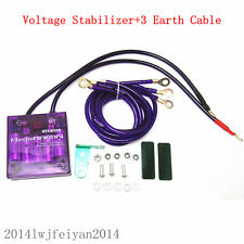 Universal Car SUV Voltage Stabilizer Fuel Saver Regulator & Grounding Kit Purple