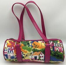 The Sak Pink Label Shoulder Bag Canvas Tropical Beach Village Print Leather Zip