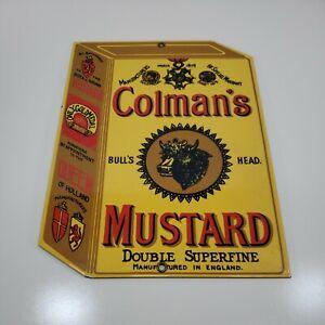 """Vintage Porcelain Enamel Sign Ande Rooney Bulls Head Colman's Mustard 8"""" x 10.5"""""""