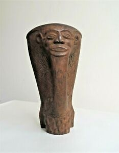 African Kuba Cup Hand Carved Face to Handel & Interlocking Decoration around Cup