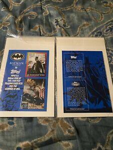 "BATMAN (KEATON) RETURNS MOVIE TOPPS 1992 UNCUT PROMO CARD SHEET 8"" X 5.5"" MINT"