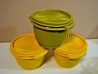 3 VINTAGE TUPPERWARE HARVEST GREEN AND YELLOW BOWLS W/LID 886-33/ 886-34