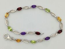Multi-Color Natural Stones Bracelet 925 Sterling Silver