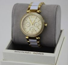 NEW AUTHENTIC MICHAEL KORS PARKER GOLD WHITE CRYSTALS WOMEN'S MK6374 WATCH