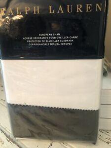 Ralph Lauren 624TC Sateen Langdon Border EURO Pillow Sham Tweed Green NWT