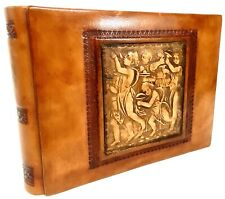 """Daisy Arts 6"""" x 8"""" Embossed Leather Photo Album Made in Italy New"""
