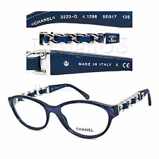 CHANEL 3223-Q c.1296 Marble Blue Silver 55/17/135 Eyeglasses Rx Made Italy - New