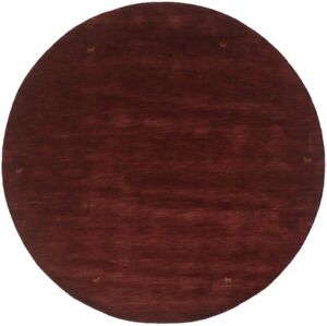 Solid Maroon Red 8X8 Oriental Modern Round Rug Contemporary Home Decor Carpet