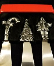 3 Stainless Steel Christmas Holiday Spreader Knives Christmas Tree Santa Candy
