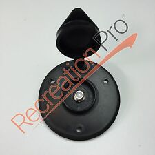 New RV BLACK CABLE TV RECEPTICAL Round Plate Camper Motorhome Pop-Up Trailer