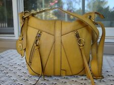 FOSSIL Yellow Mustard Leather Crossbody Shoulder Rustic Handbag Boho Hobo Hippie