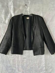 """Gorgeous  """"GORMAN""""  Black Linen ¾ Sleeve Short Blazer Jacket Size 10"""