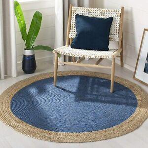 classic natural sky blue view multi sizes braided round rug beautiful rug 4x4-61