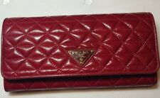 PRADA Cherry Red Foldover Wallet Purse in Soft Nappa Leather BNWT rrp £535