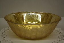 "9"" Weavetex Iridescent Gold Carnival by Indiana Glass Large Salad Vegie Bowl 50s"