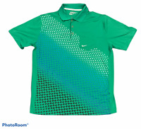 Men's NIKE Golf Green Polo Shirt Top DRI-FIT Short Sleeve Size Large L