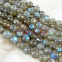Natural 6mm 8mm 10mm 12mm 14 Labradorite Round Gemstone Loose Bead 15''AAA