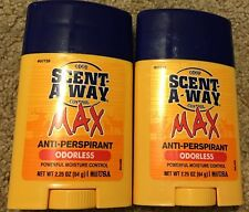 NEW Lot of 2 Scent-A-Way Max Anti-Perspirant Odorless Deodorant 2.25oz Each