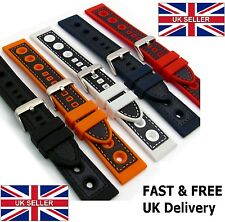 Grand Prix Mens sports Silicone Rubber Watch Strap Band Waterproof 20/22/24mm