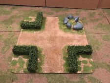"""28mm, Painted Terrain, 3"""" road Intersection w/ 40mm hedges (A)"""