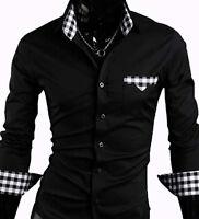 New Mens Casual Slim Dress Shirts - Black/Grey/D.Red/Navy -UK size S/M/L/XL/XXL