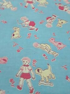 RARE Vintage Feedsack With Children and Dogs Print