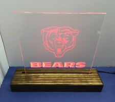 Chicago bear Man Cave real glass Wood Stained display Neon Light Sign ! Nice �