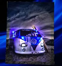 Vw Bulli Bus T2 Blue Leinwand Bild LED Leuchte Bild Wandbild