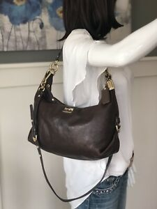 COACH Madison Hailey Mahogany Brown Leather Hobo Crossbody Shoulder Bag 14304