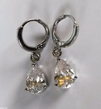 N05 Sim diamond pear drop, silver (white gold fill) hoop & dangle earrings BOXED