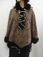 BRAND NEW CLOTH AND SHEARLING SHEEPSKIN FUR CAPE WOMEN WOMAN SIZE ONE SIZE