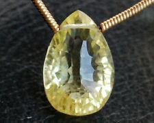 AAA Natural Lemon Quartz Concave Convex Pear Briolette Gemstone Bead