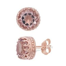4.08 Ct Round Cut Morganite 18k Rose Gold Over Sterling Silver Stud Earrings