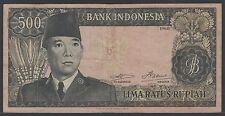 Indonesia 500 Rupiah 1960 Soekarno wmk Garuda, F+, Pick 87d  / H-272f