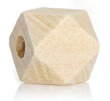 Holzperlen, Polygone, Geometrische Perlen - Naturell - 30 Stk. - 1 x 1 cm