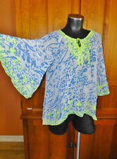 SUNDANCE Sheer Neon Embroidered Bell Slv Blouse BoHo Hi Low TOP size S