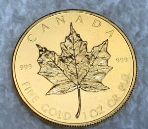 """1979 1 Oz .999 Fine Pure Gold Canadian Maple Leaf Rare FIRST Issue """"Young Head"""""""