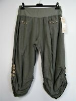 LAGENLOOK 100% LINEN  ITALIAN CROPPED TROUSERS 9 COLOURS  PLUS SIZE 16-20