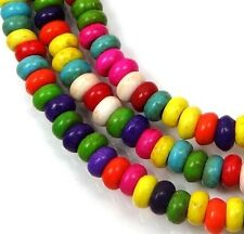"""4x2mm Colorful Turquoise Rondelle Beads 16""""  -  Mixed"""