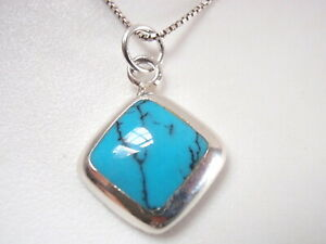 Small Blue Turquoise Square Pendant with Rounded Corners 925 Sterling Silver