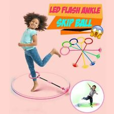 Kids Foldable Ankle Skip Ball Flash Jump Colorful Sports Swing Ball Pink